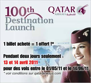 Qatar Airways : 1 billet offert pour 1 acheté !